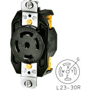 Bryant 72330FR TECHSPEC® Receptacle, L23-30, 30A, 3ph 347/600V AC, Black