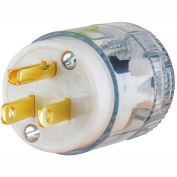 Bryant 8266T TECHSPEC® Straight Blade Plug, 15A, 125V, Clear, 5-15P, 2 Pole, 3 Wire