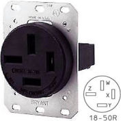 Bryant 8350FR Single Flush Receptacle, 50A, 3ph 120/208V, Black