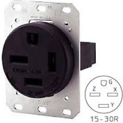 Bryant 8430FR Single Flush Receptacle, 30A, 3ph 250V, Black