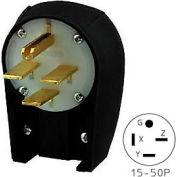 Bryant 8452ANPB Angled Straight Blade Plug, 50A, 3ph 250V, Black/White