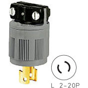 Bryant 9102N Locking Device Plug, L2-20, 15A, 250V, Black