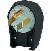 Bryant 9462ANPB Angled Straight Blade Plug, 60A, 125/250V, Black/White