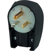 Bryant 9530ANPB Angled Straight Blade Plug, 30A, 125V, Black/White