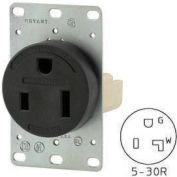 Bryant 9530FR Single Flush Receptacle, 30A, 125V, Black