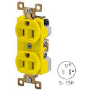 Bryant BRY5262CR TECHSPEC® Industrial Grade Duplex Receptacle, 15A, 125V, Yellow