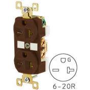 Bryant BRY5462 TECHSPEC® Industrial Grade Duplex Receptacle, 20A, 250V, Brown