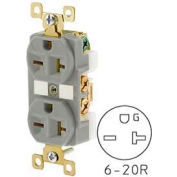 Bryant BRY5462GRY TECHSPEC® Industrial Grade Duplex Receptacle, 20A, 250V, Gray