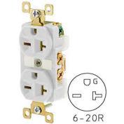 Bryant BRY5462W TECHSPEC® Industrial Grade Duplex Receptacle, 20A, 250V, White