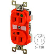 Bryant BRY8200REDL TECHSPEC® Hospital Grade Duplex Receptacle, 15A, 125V, Red, Lighted Face