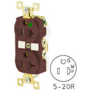 Bryant BRY8300 TECHSPEC® Hospital Grade Duplex Receptacle, 20A, 125V, Brown, Self Ground