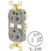 Bryant BRY8300GRY TECHSPEC® Hospital Grade Duplex Receptacle, 20A, 125V, Gray, Self Ground