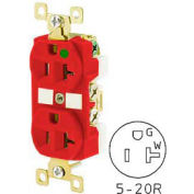 Bryant BRY8300REDL TECHSPEC® Hospital Grade Duplex Receptacle, 20A, 125V, Red, Lighted Face