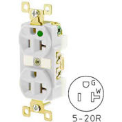 Bryant BRY8300WL TECHSPEC® Hospital Grade Duplex Receptacle, 20A, 125V, White, Lighted Face