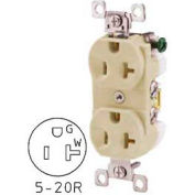 Bryant CBRS20I Commercial Grade Duplex Receptacle, 20A, 125V, Ivory, Self Ground