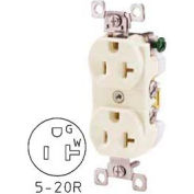 Bryant CBRS20W Commercial Grade Duplex Receptacle, 20A, 125V, White, Self Ground