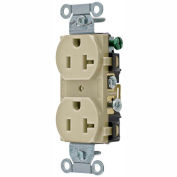 Bryant CRS20I Commercial Grade Duplex Receptacle, 20A, 125V, Ivory, Side Wired