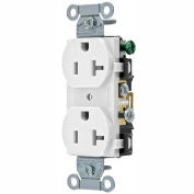 Bryant CRS20W Commercial Grade Duplex Receptacle, 20A, 125V, White, Side Wired