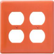 Bryant NP82OR Duplex Plate, 2-Gang, Standard, Orange, Nylon