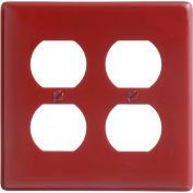 Bryant NP82R Duplex Plate, 2-Gang, Standard, Red Nylon