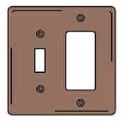 Bryant NPJ126 Toggle Styleline Combo Plate, 2-Gang, Mid-Size, Brown Nylon