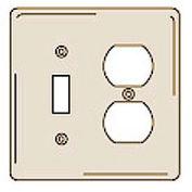 Bryant NPJ18I Toggle Duplex Combo Plate, 2-Gang, Mid-Size, Ivory Nylon