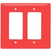 Bryant NPJ262R Styleline Rectangular Plate, 2-Gang, Mid-Size, Red Nylon