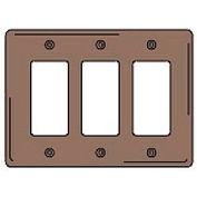 Bryant NPJ263 Styleline Rectangular Plate, 3-Gang, Mid-Size, Brown Nylon