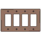 Bryant NPJ264 Styleline Rectangular Plate, 4-Gang, Mid-Size, Brown Nylon