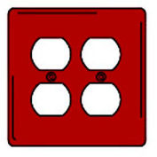 Bryant NPJ82R Duplex Plate, 2-Gang, Mid-Size, Red Nylon