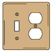 Bryant SB18 Toggle Duplex Combo Plate, 2-Gang, Standard, Brass
