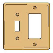 Bryant SBP126 Toggle Styleline Combo Plate, 2-Gang, Standard, Brass Plated