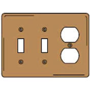 Bryant SBP28 Toggle Duplex Combo Plate, 3-Gang, Standard, Brass Plated