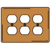 Bryant SBP83 Duplex Plate, 3-Gang, Standard, Brass Plated