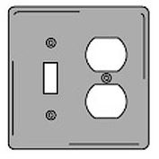 Bryant SCH18 Toggle Duplex Combo Plate, 2-Gang, Standard, Chrome Plated