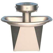 Bradley Wash Fountain, Semi-Circular, Raising Vent, Series SN202, 3 Person