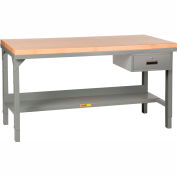 """Little Giant®  60""""W x 30""""D Maple Butcher Block Square Edge Workbench with Drawer, Adjustable"""