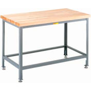 """Little Giant® 36""""W x 24""""D Maple Butcher Block Square Edge Top Table, Adjustable Leg"""