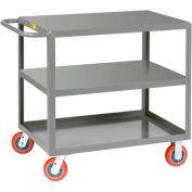 Little Giant® All Welded Service Cart 3LG-3048-6PY, 3 Flush Shelves, 30 x 48 2000 Lb. Cap.