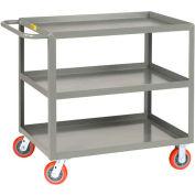 Little Giant® All Welded Service Cart 3LGL-3060-6PY, 3 Lip Shelves, 30 x 60 2000 Lb. Cap.