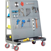 "Little Giant Mobile Pegboard with Back Shelf Storage AFPBS2448-6PYFL - 48"" x 24"", Floor Lock"