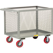 "Steel Box Truck, Mesh Sides, 2000 lbs., 24"" x 48"", Non-Marking Poly Wheels"