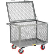 "Steel Box Truck, Mesh Sides, 2000 lbs., 30"" x 60"", Non-Marking Poly, Hinged Lid"