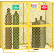 """Little Giant® Gas Cylinder Cabinet GSU2-72W-70H Vertical Labelled Compartments 72""""Wx38""""Dx70""""H"""