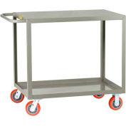Little Giant® All Welded Service Cart LG-2448-6PY, 2 Flush Shelves, 24 x 48 2000 Lb. Cap.