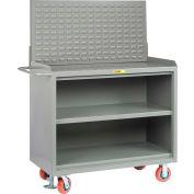 "Little Giant MB3-2448-FL-LP 48""W x 24""D Mobile Service Bench, Center Shelf, Powder Coated Steel Top"