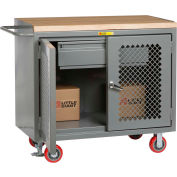 """Little Giant MBP2D-2448-HDFL  48"""" W Mobile Bench Cabinets, Heavy-Duty Drawer 2 Clear View Doors"""