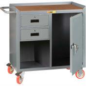 "Little Giant MCH1D2436-2DRTL  36"" W Mobile Bench Cabinet, 2 Drawers, 1 Door, Hardboard Top"