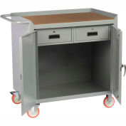 """Little Giant MCH2D2436-2DRTL  36"""" W Mobile Bench Cabinet, 2 Drawers, 2 Doors, Hardboard Top"""