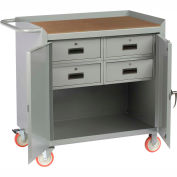 "Little Giant MCH2D2436-4DRTL  36"" W Mobile Bench Cabinet, 4 Drawers, 2 Doors, Hardboard Top"